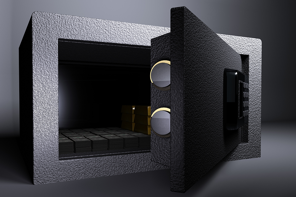 3D illustration rendering of Small Vault Gold and US Dollar